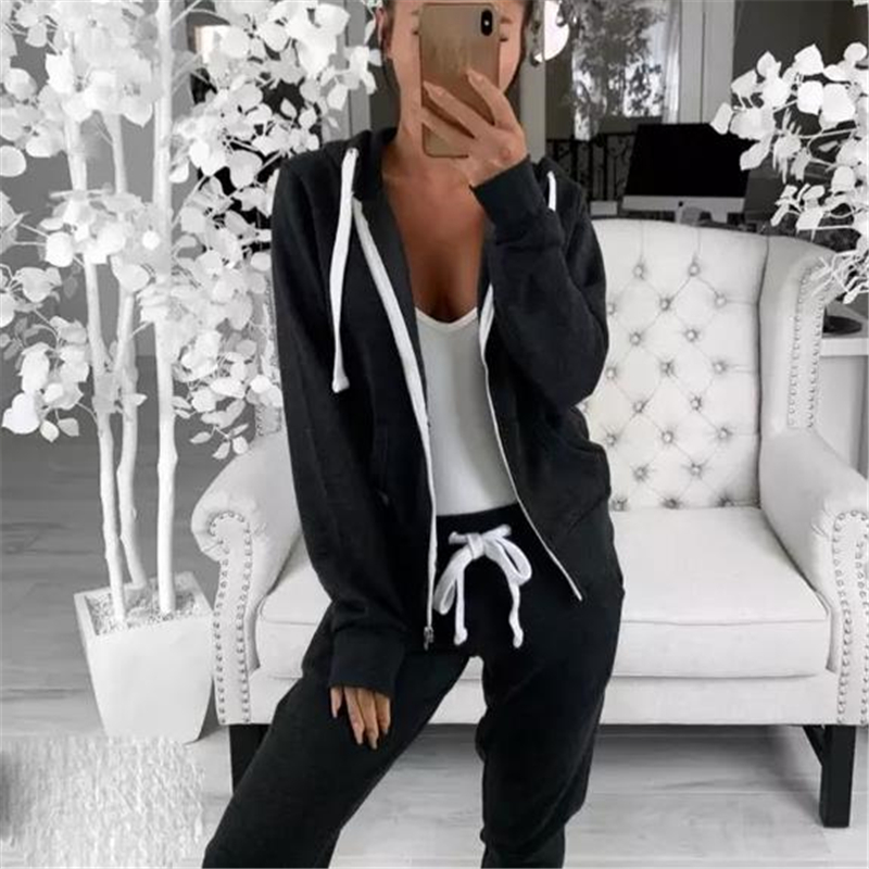 Fashion 2 Piece Set Women Clothes Autumn Winter Hooded Jackets Top And Pants Suit Two Piece Outfit Matching Sets Tracksuit Set