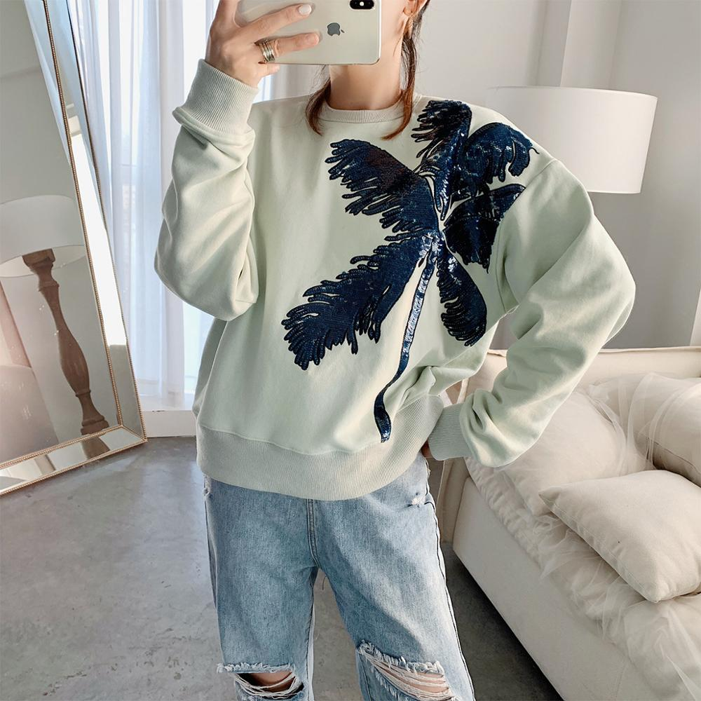 Brand new high quality 100% cotton womens sweatshirts hot fashion sequins embroidered hoodies A875