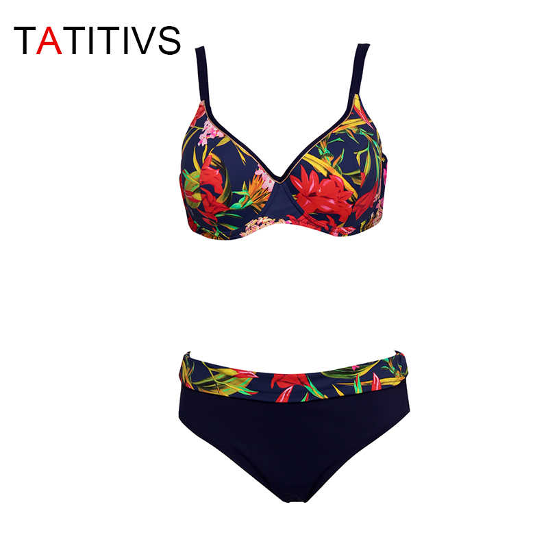 TATITIVS حجم كبير البيكينيات النساء زهرة طباعة مجموعة البكيني كوب كبير رفع المايوه 2020 الصيف ملابس السباحة المايوه Biquini