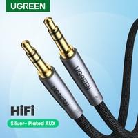 UGREEN HiFi AUX Kabel 3,5mm Audio Lautsprecher Kabel 3,5 jack Für Gitarre Silber-überzogene Geflochtene Draht Hilfs Auto kopfhörer Kabel