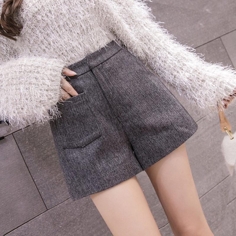 S-2xl Korean Wool Shorts Female Autumn Winter 2019 Striped High-waist Shorts Women With Pocket Booty Shorts Women Plus Size