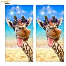 HUGSIDEA, 2 шт., жираф, Селфи, мягкое банное полотенце для бассейна, Африканское животное, микрофибра, многоцелевое полотенце, s, спортивное, для плавания, для йоги, одеяло