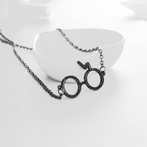 ZXMJ Harried Glasses Necklace Pendant Potters glasses Geek lightning scar European and American movie Long chain necklace gift