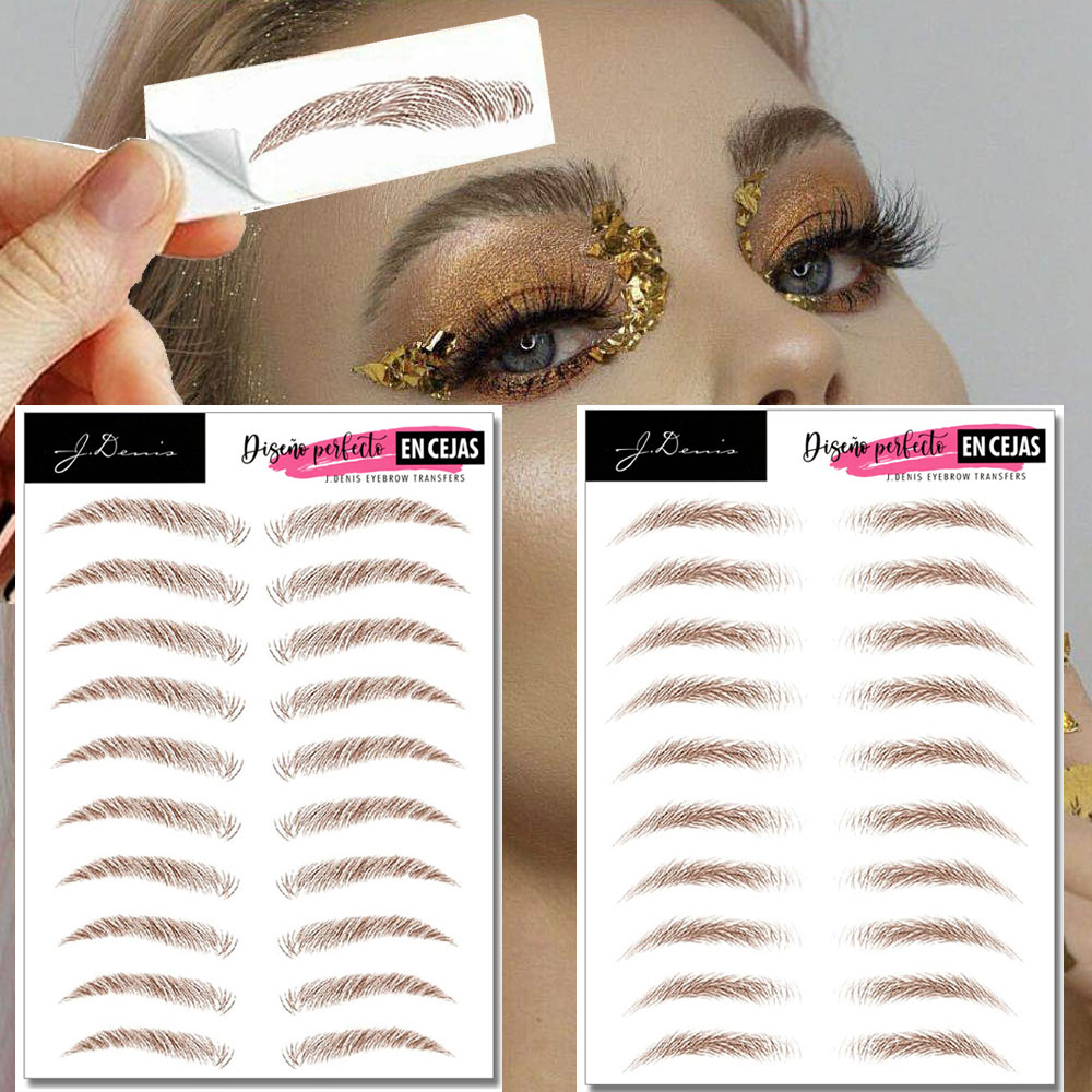 MB 10 Pair Brown Eyebrows Tattoo Water Transfer Fake Tatoo Semi-Permanent 6D Eyebrows Sticker Eye Brows Sticker Soft Makeup Kit