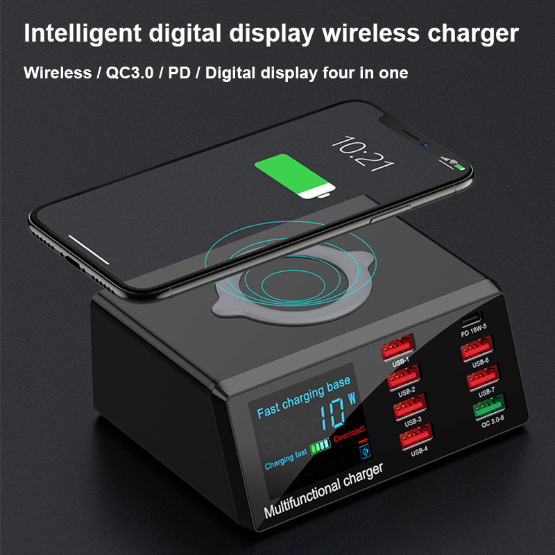 Intelligent Digital Wireless Charger 8 Ports PD QC 3 0 Fast USB Charging for Phone Samsung Huawei iPad Quick Battery Charging