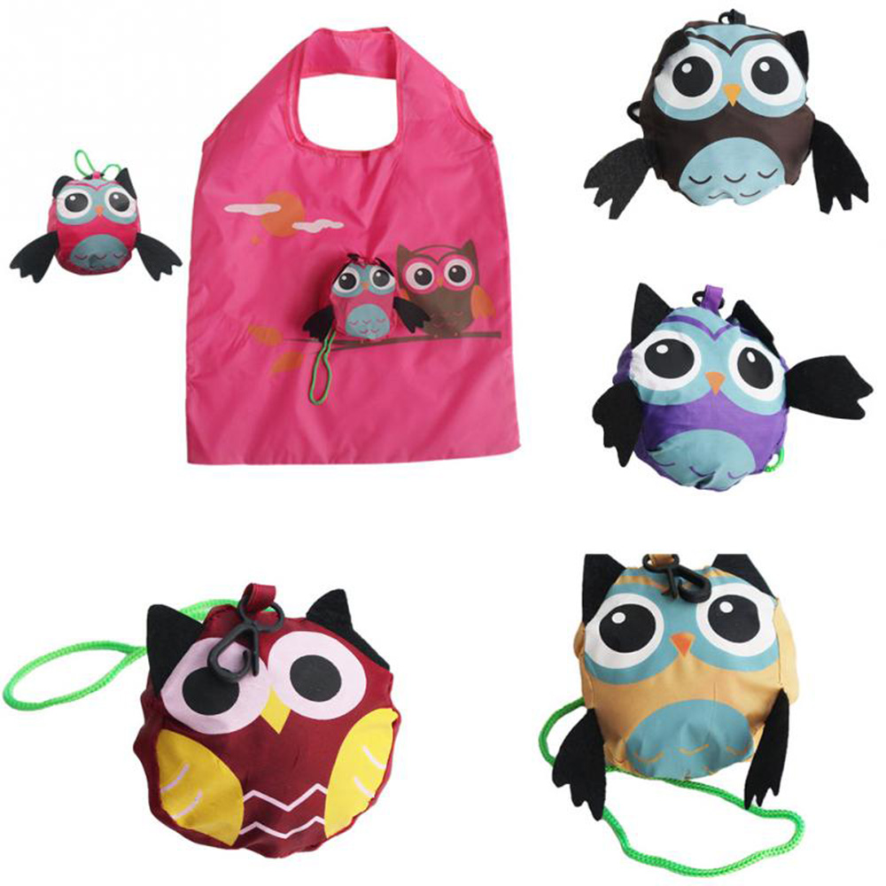 2019 Cute Animal Owl Shape 12 Styles Folding Shopping Bag Eco Friendly Ladie Gift Reusable Tote Bag Portable Travel Shoulder Bag