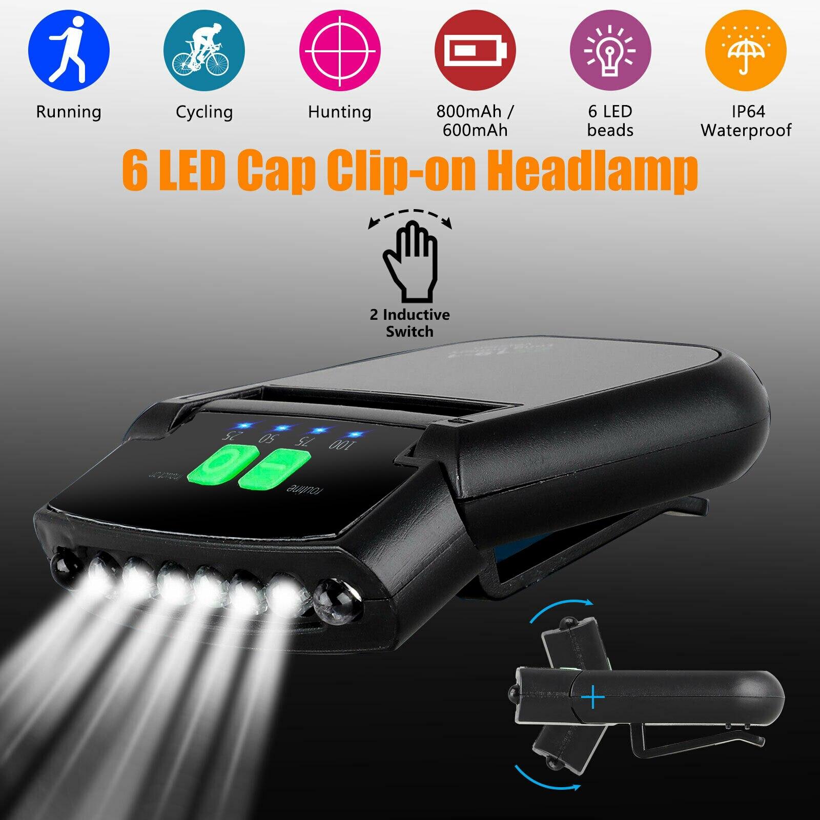 6 LED Clip-on Hat Sensory Headlight Light Cap Hat Lamp Headlamp USB Rechargeable Head Lamp Lights Outdoor