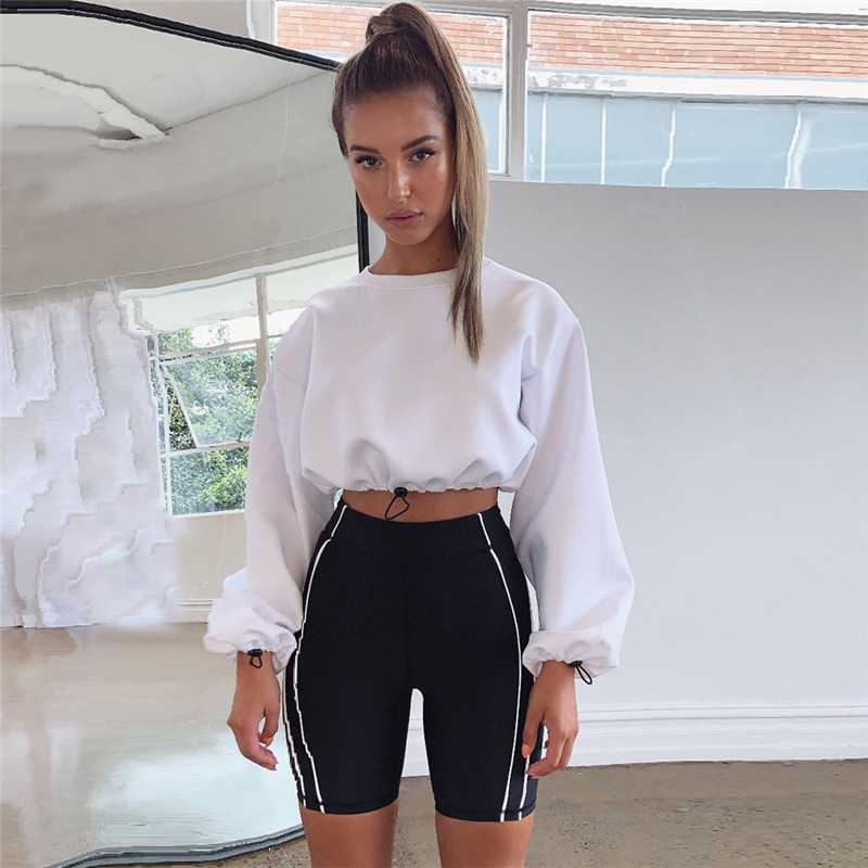 Puff Sleeve Hoodies Women Sweatshirt Long Sleeve Cropped Tops Casual Sweatshirts Loose Jumpers Pullover Bare-midriff Tube Top