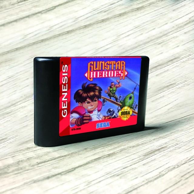 Gunstar Heroes   USA Label Flashkit MD Electroless Gold PCB Card for Sega Genesis Megadrive Video Game Console