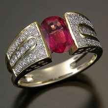 Huitan Di Lusso di Colore Dell'oro Band Ring con Ovale di Pietra Rossa di Vendita Calda Delle Donne Anello di Cerimonia Nuziale di Cristallo di Abbagliamento Zircone Anelli Classici gioielli