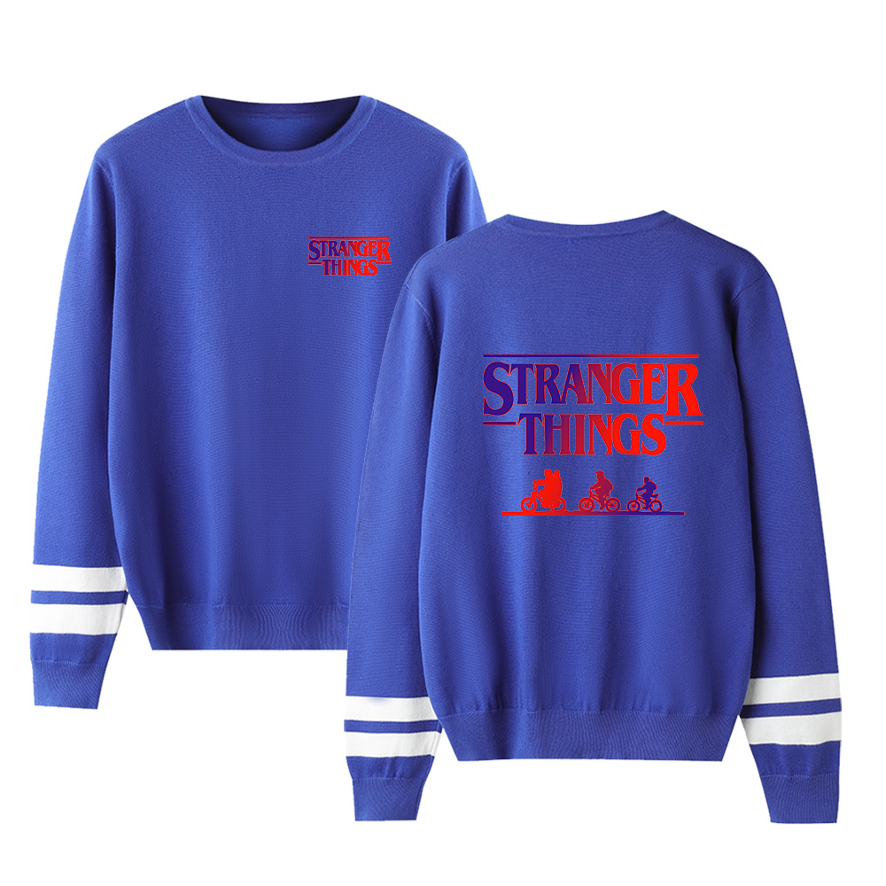 Casual New Stranger Things Sweater Men/Women New Fashion Fall Harajuku Round Collar Stranger Things Round Neck Blue Casual Tops