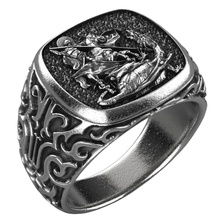 2020 New Domineering Retro Dragon Slaying Heroes St. George Mythical Monarch Spear Jewelry Men Engagement Wedding Gift Ring