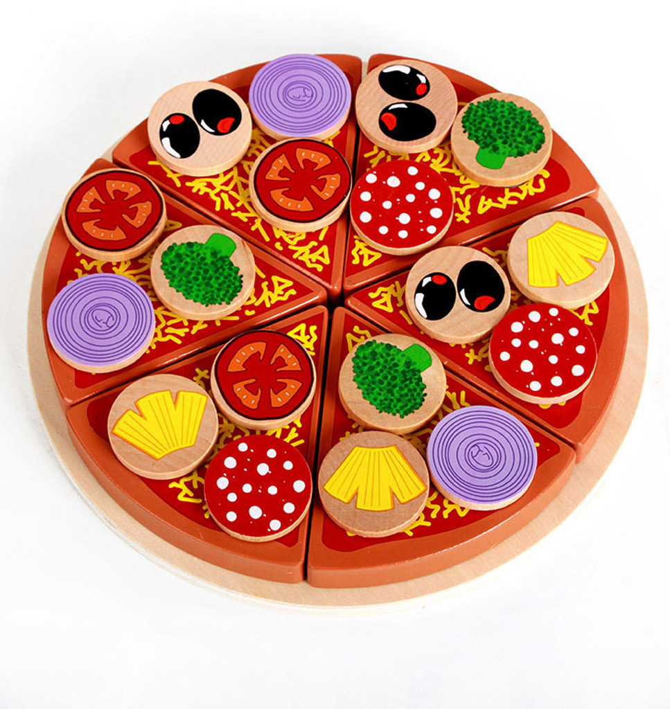 Pizza Wooden Toys Food Cooking Simulation Tableware Children Kitchen Pretend Wooden Simulation Mushroom Pizza Cut To See Rb93