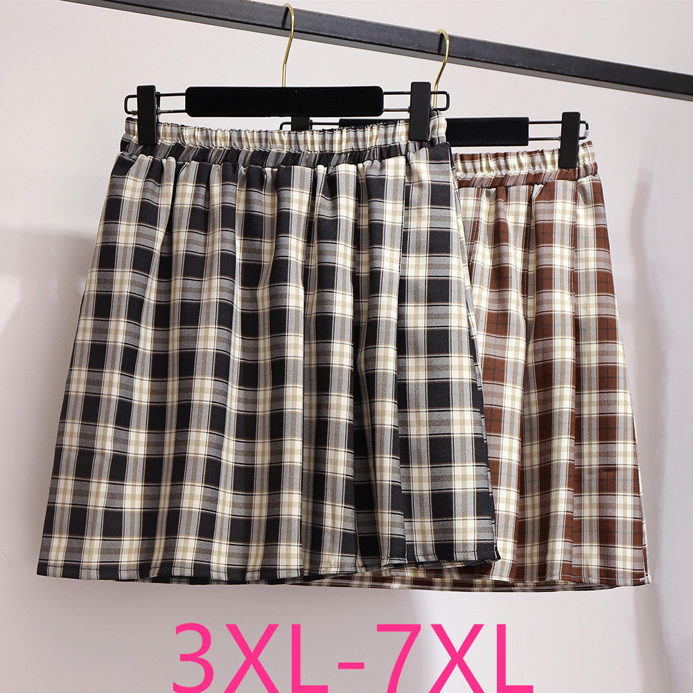 2019 Autumn Winter Plus Size Mini Skirt For Women Large Casual Loose Elastic Waist Plaid Short Skirts Black 3XL 4XL 5XL 6XL 7XL