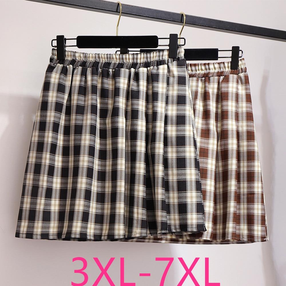 2020 Spring Summer Plus Size Mini Skirt For Women Large Casual Loose Elastic Waist Plaid Short Skirts Black 3XL 4XL 5XL 6XL 7XL