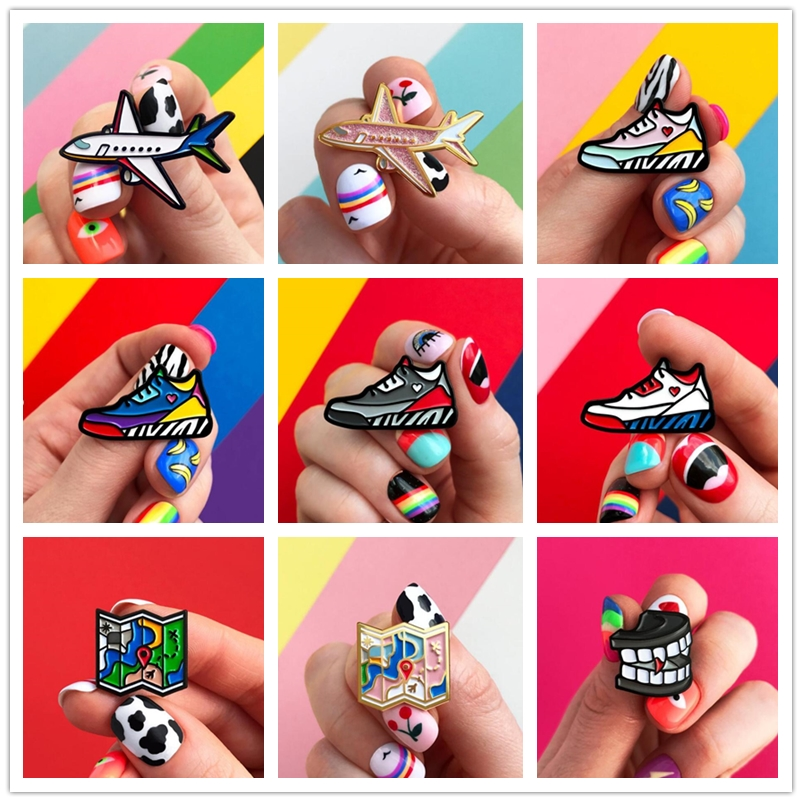 Tooth Airplane Sneakers Map Creative Brooch Metal Special Gift for Woman Man Cartoon Pins Badge Pendant image