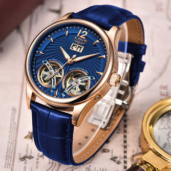 2019 LIGE Doppel Tourbillon Uhren männer Automatische Uhr Selbst-Wind Modus Männer Mechanische Armbanduhr Leder Relogio Masculino