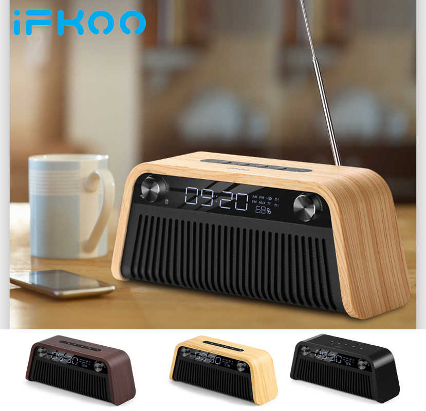IF-Q2 Wireless Bluetooth Speakers Alarm Clock Computer Desk Subwoofer Outdoor Car Phone Mini Portable Retro Collection Radio TF