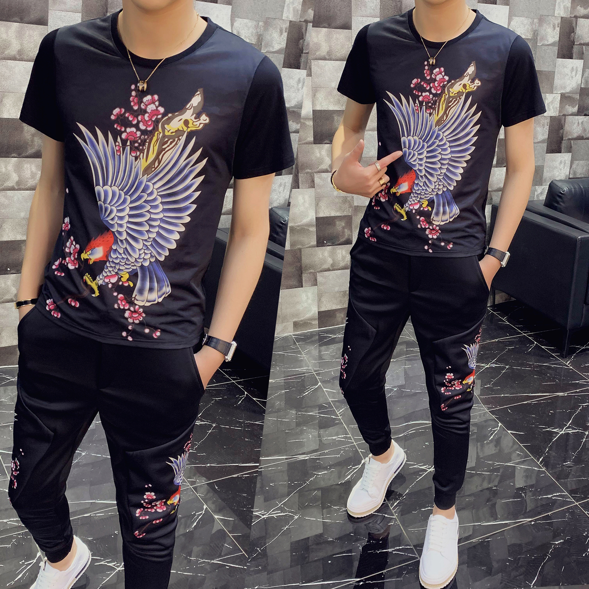 Personality Printing Two Piece Set Men Slim Fit Outfits Men Set Short Sleeve T Shirt  High Quality Tracksuit Top And Pants Men