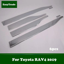 Car styling ABS Chrome Body Side Door Moulding Cover Trim Exterior Accessories For Toyota RAV4 2019 6pcs/set