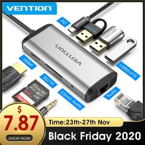 Image 1 - Vention USB C tipo C a 4K HDMI RJ45 VGA USB 3,0 HUB Dock para MacBook Pro Huawei Mate 30 USB C 3,1 divisor Puerto USB C HUB