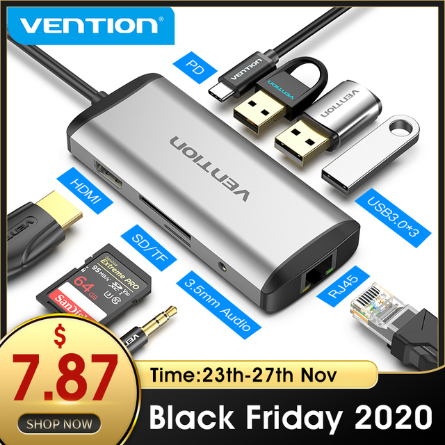Vention USB C tipo C a 4K HDMI RJ45 VGA USB 3,0 HUB Dock para MacBook Pro Huawei Mate 30 USB C 3,1 divisor Puerto USB C HUB