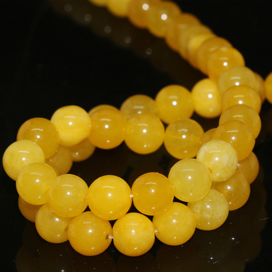 High grade yellow natural stone 4mm 6mm 8mm 10mm 12mm jades round chalcedony loose beads diy lovely jewelry making 15 inch G400