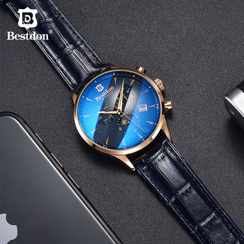 Bestdon Luxury Brand Watch Men Automatic Mechanical Watch Business Casual Switzerland Watches Moon Phase Blue Leather Strap 7116 ailang blue luxury watch men automatic stainless steel watch male moon phase and calendar business mechanical watches a043