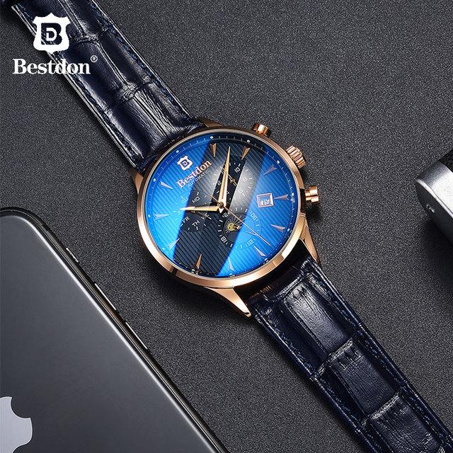 Bestdon العلامة التجارية الفاخرة ساعة الرجال التلقائي ساعة ميكانيكية الأعمال عادية سويسرا الساعات القمر المرحلة الأزرق حزام من الجلد 7116