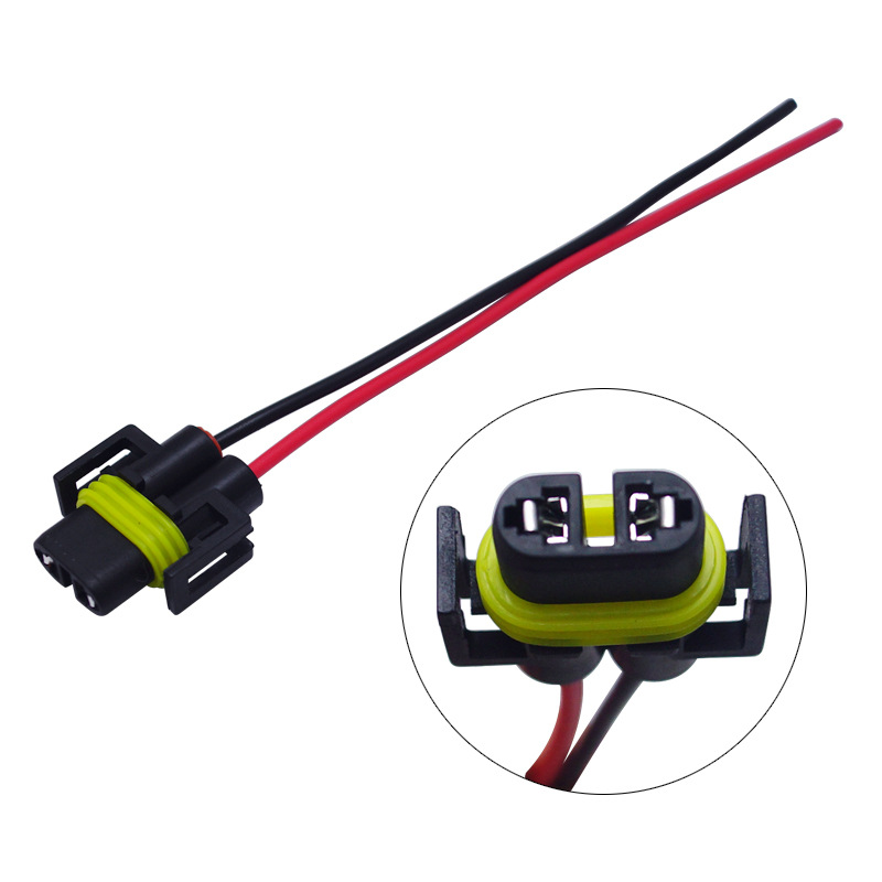 Automobile Bulb Socket H8/H9/H11 Fog Lamp Socket Adapter H11 Headlight Lamp Holder With Line Female Connector
