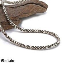 Prawdziwy srebrny naszyjnik mężczyźni kobiety tajski srebrny naszyjnik kukurydzy mężczyzna s925 Sterling długi łańcuszek srebrny Retro wisiorek naszyjnik biżuteria