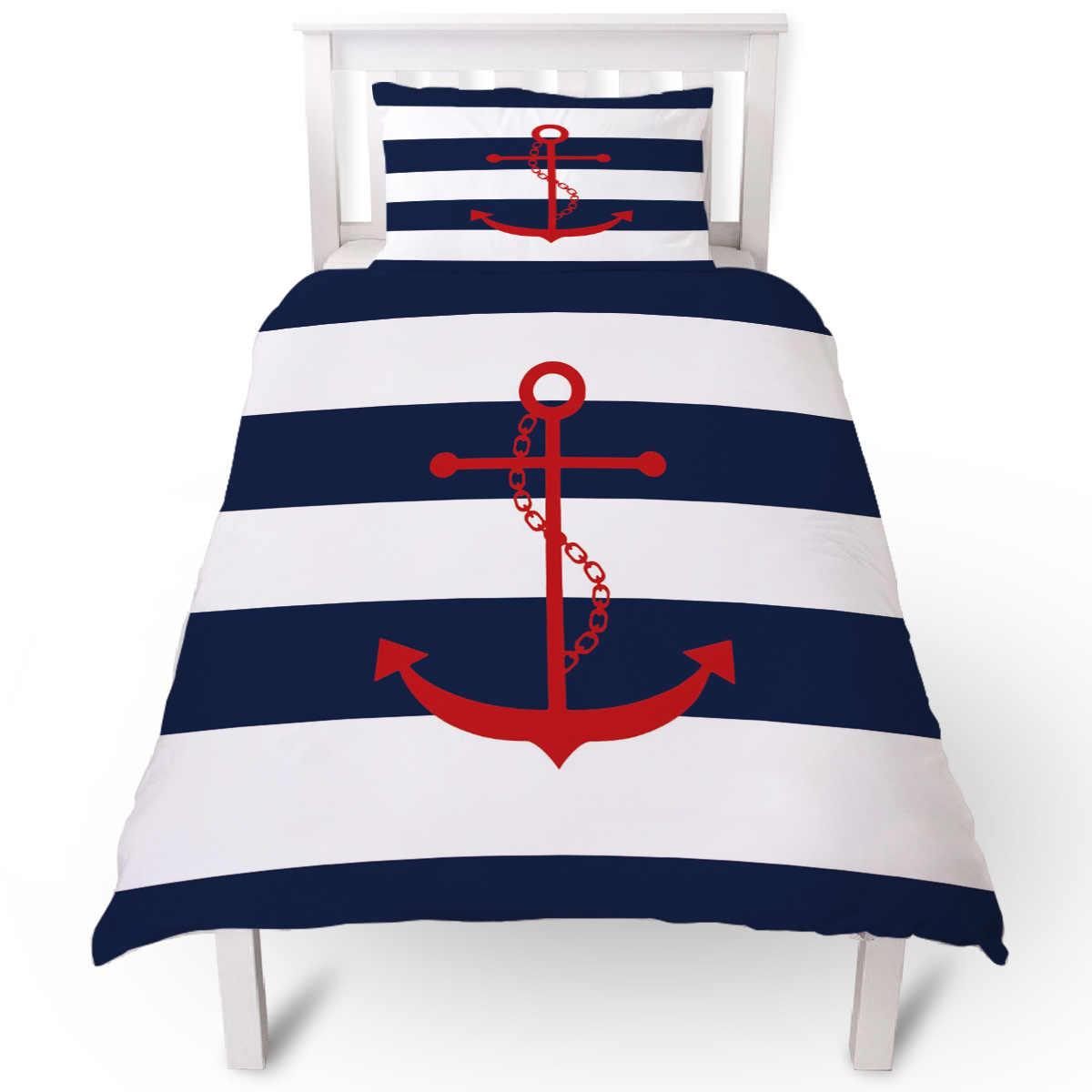 simple blue white stripes anchor duvet cover pillow case quilt cover set bedclothes single bedding sets for bed