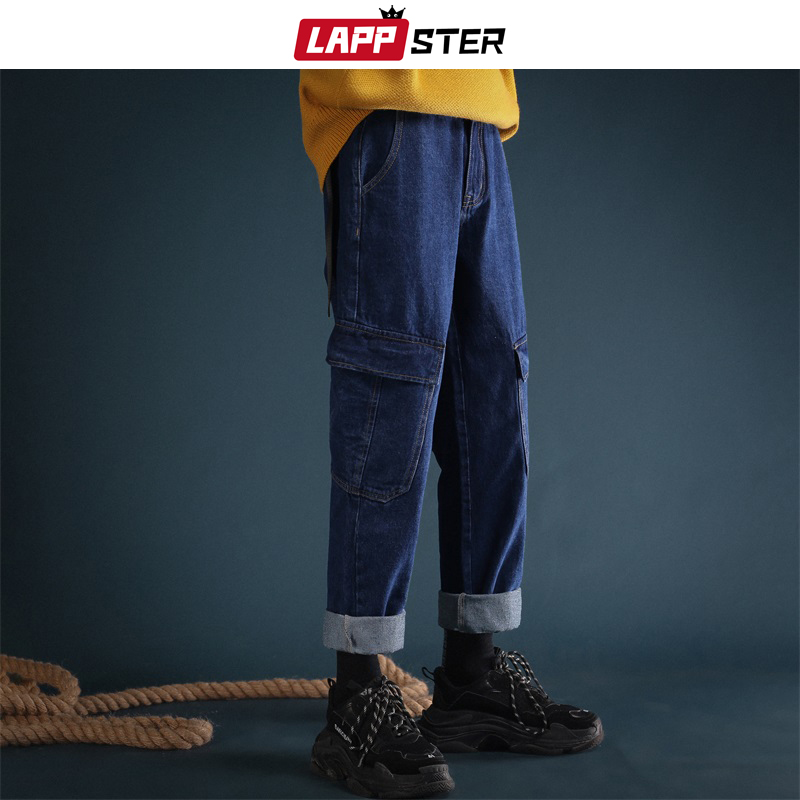 LAPPSTER Men Streetwear Vintage Blue Jeans 2019 Denim Pants Men Fashions Korean Black Jeans Male High Waist Designer Clothes 2XL