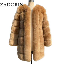 Jackets Women Coat Faux-Fur Fluffy Long-Furry Plus-Size ZADORIN Winter New Warm Thick