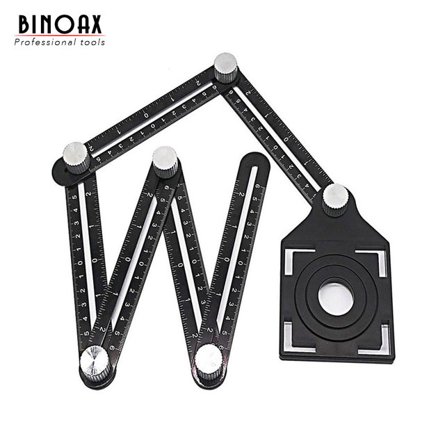 Aluminum Alloy Six Sided Ruler Measuring Instrument Template Angle Tool Mechanism Slides With Hole Locator