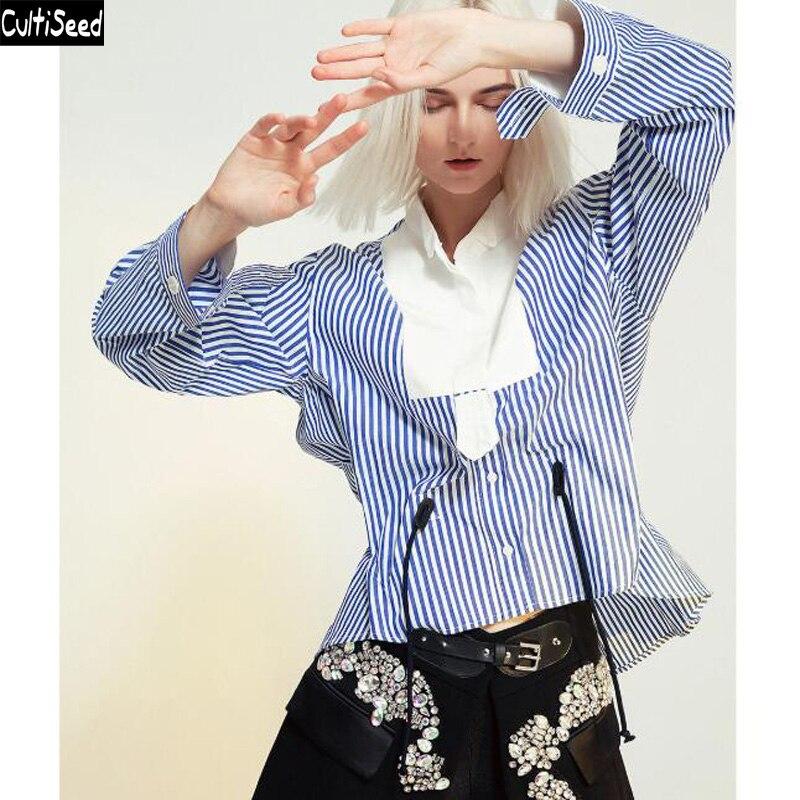 2019 femmes printemps automne dessus de chemise femme Patchwork rayé chemises Blouses dames nouvelle mode élégant bureau travail fête chemises