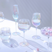 British Modern Simple Rainbow Red Wine Glass Set famiglia calice colorato Champagne Light lusso galvanotecnica Crystal Glass