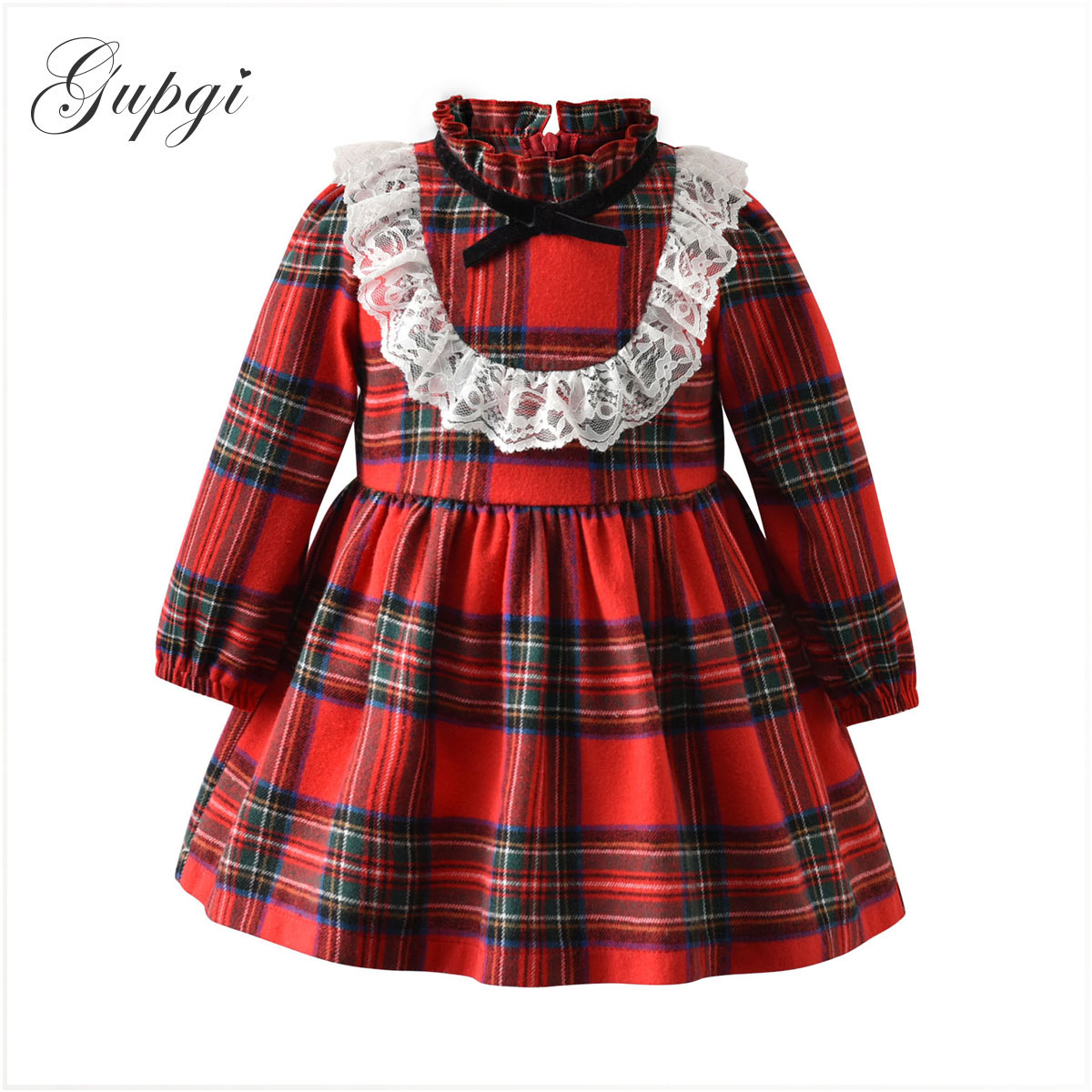 Gupgi 1-6Y <font><b>Christmas</b></font> Baby <font><b>Girls</b></font> <font><b>Dress</b></font> Toddler Baby Kid <font><b>Girls</b></font> Lace Ruffles <font><b>Red</b></font> Plaid Tutu <font><b>Dress</b></font> Xmas Party <font><b>Long</b></font> <font><b>Sleeve</b></font> <font><b>Dresses</b></font> image