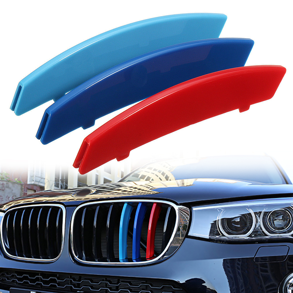 M Color Car Front Grille Strips Cover Stickers Clips For <font><b>BMW</b></font> <font><b>5</b></font> <font><b>Series</b></font> <font><b>E60</b></font> 04-10 Care Car Store image