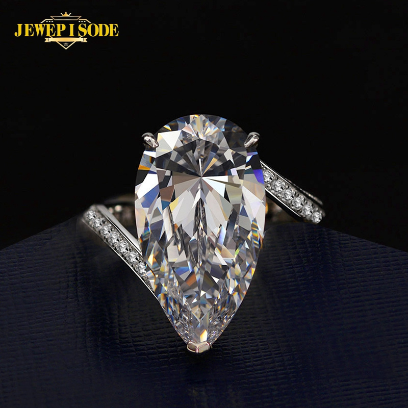 Jewepisode Sparking Pear Cut 22ct Created Moissanite Diamond Gemstone Rings for Women Wedding Engagement Solid Silver 925 Ring