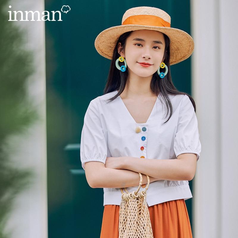 INMAN 2020 Summer New Arrival Vintage Retro Style Rainbow Button V Neck Short Shape Blouse