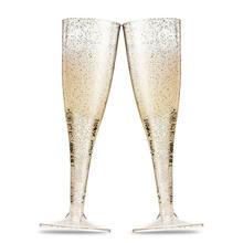 5 pçs/set champanhe flauta copo de bebida de plástico festa de casamento vinho cocktail decoração copo de brinde de casamento óculos de ano novo festa decoração