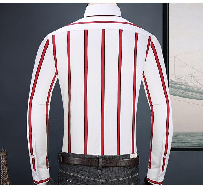 Męskie kontrastowe kolorowe guziki w paski w paski koszule w  Alo5h