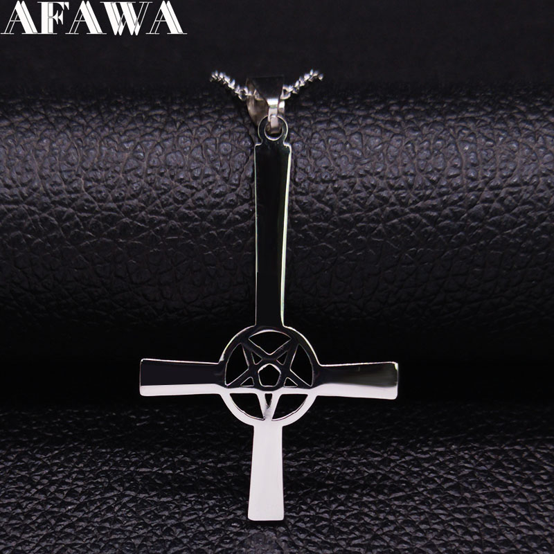 InvertedCrossOccultPentagramStainlessSteel Chain Necklace WomenSatanicGothic Satan NecklaceJewelry colgante N642S03