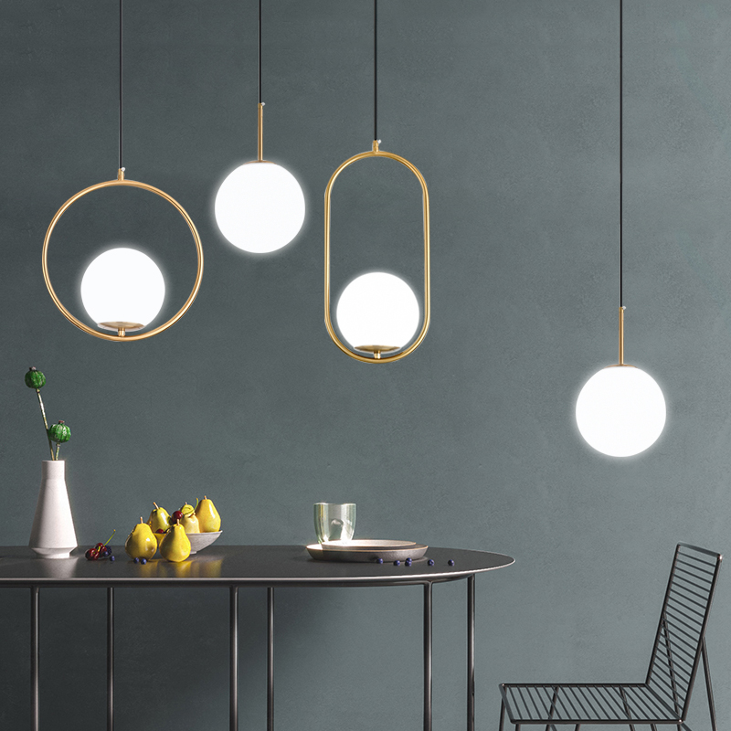 DX Modern Living Room/Bedroom/Minimalist/Restaurant Pendant Light Nordic Clothing Decoration Glass Ball Pendant Lamp