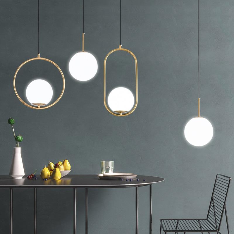 DX – lampe suspendue en boule de verre au design nordique moderne, luminaire décoratif d'intérieur, idéal pour un salon, une chambre à coucher, un Restaurant ou une chambre à coucher