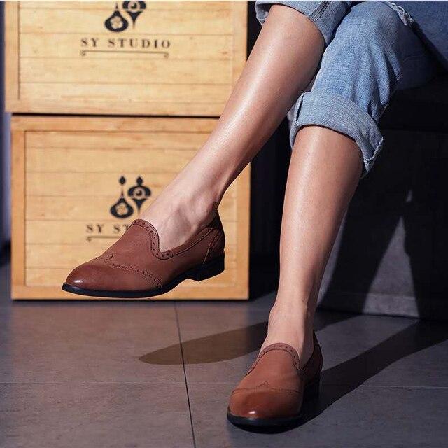 Yinzo Vrouwen Flats Oxford Schoenen Dame Echt Lederen Sneakers Dames Brogues Vintage Casual Schoenen Schoenen Voor Vrouwen Schoenen 2020