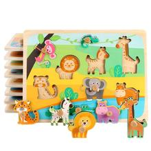 Baby Toys Wooden Puzzle Cartoon Vehicle Marine Animal Puzzle Jigsaw Board Educational Wooden Toy Child Gifts baby toys montessori 2 in 1 puzzle hand grab board set educational wooden toy cartoon vehicle marine animal puzzle child gift