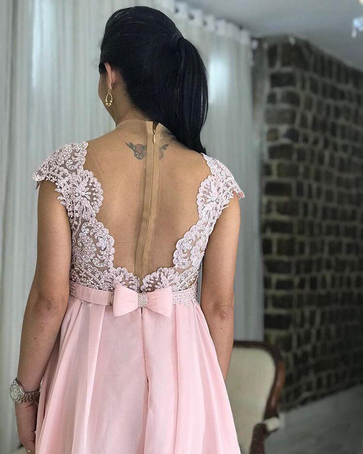 Maternité dentelle perlée arabe robes de soirée avec Cap manches rose en mousseline de soie longues robes de bal élégant formelle fête robes enceintes - 4