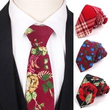 Мода хлопок печатных цветочные мужские галстуки шеи галстук 6 см тонкий галстуки для мужчин женщин свободного покроя тощий галстук свадьба